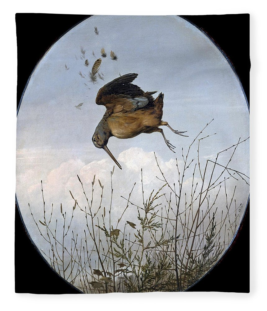 Thomas Hewes Hinckley Fleece Blanket featuring the painting Woodcock by Thomas Hewes Hinckley