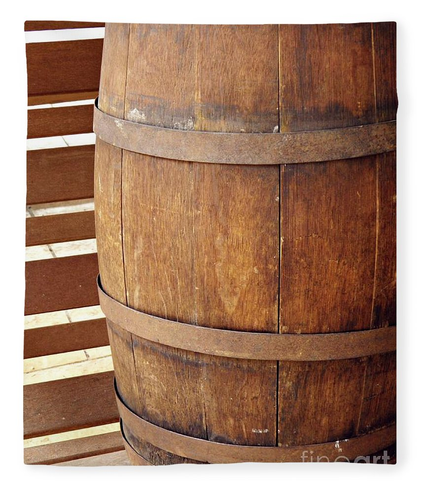 Barrel Fleece Blanket featuring the photograph Wooden Barrel by Sarah Loft