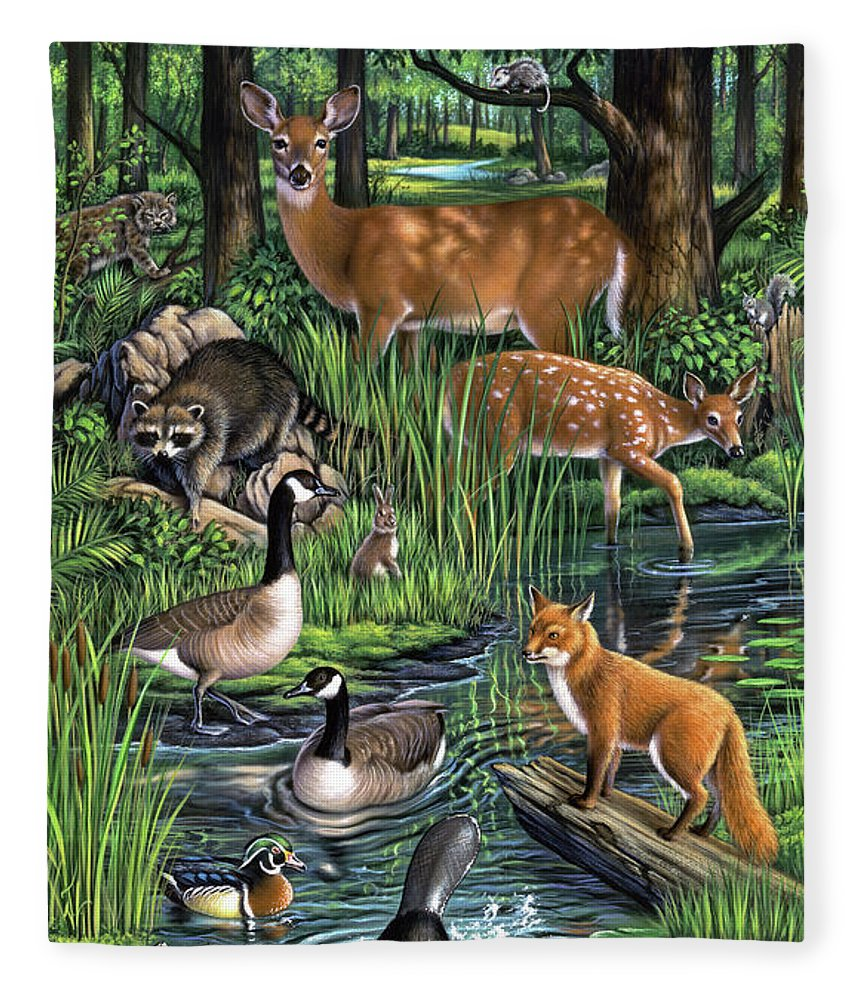 Animals Fleece Blanket featuring the painting Woodland by Jerry LoFaro