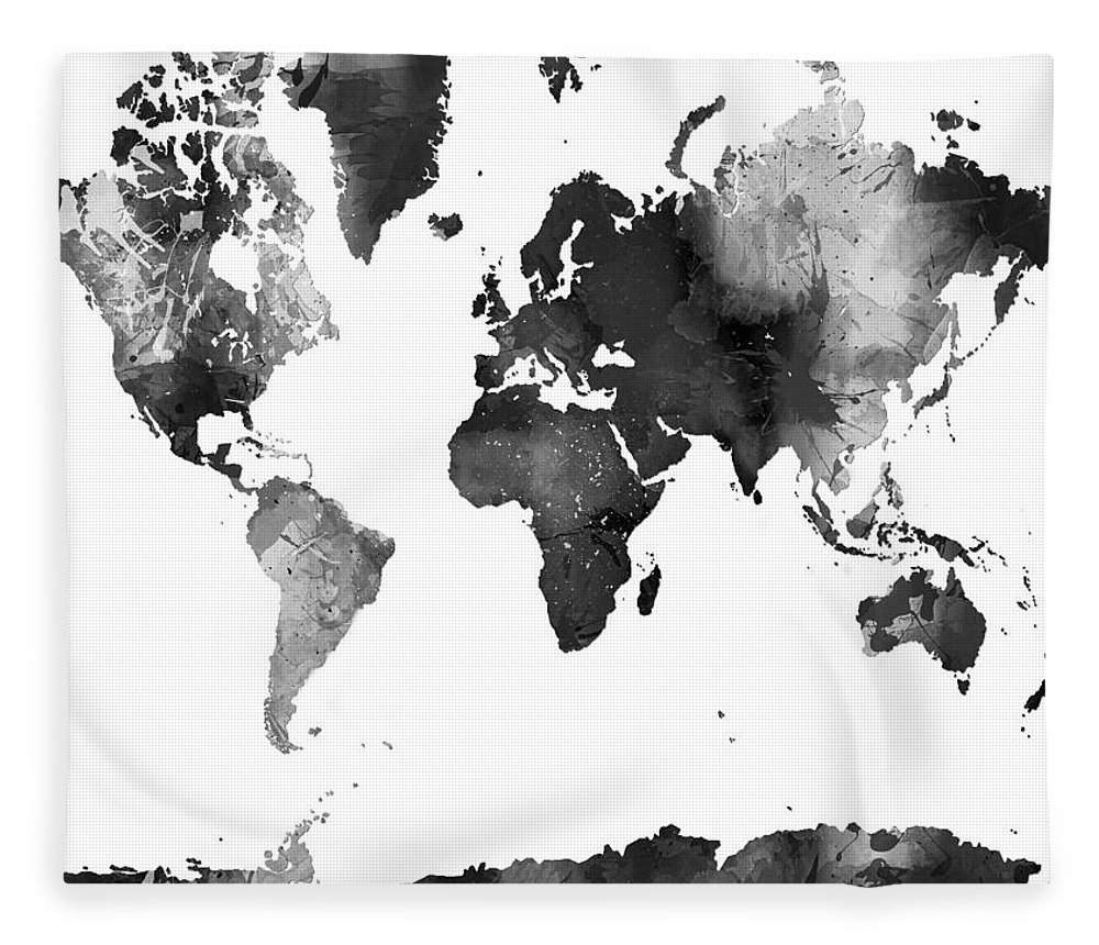 World map in black and white fleece blanket for sale by marlene watson world map in black and white fleece blanket featuring the digital art world map in black gumiabroncs Images