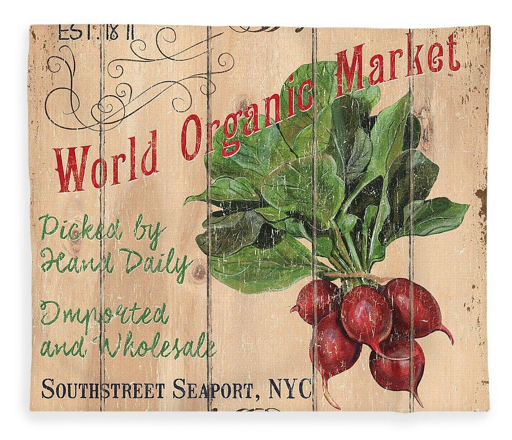 Market Fleece Blanket featuring the painting World Organic Market by Debbie DeWitt