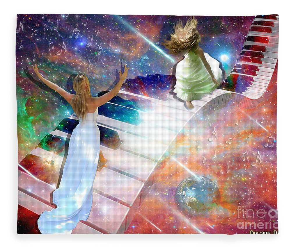 Piano Keys Fleece Blanket featuring the digital art Worship In Spirit And In Truth by Dolores Develde
