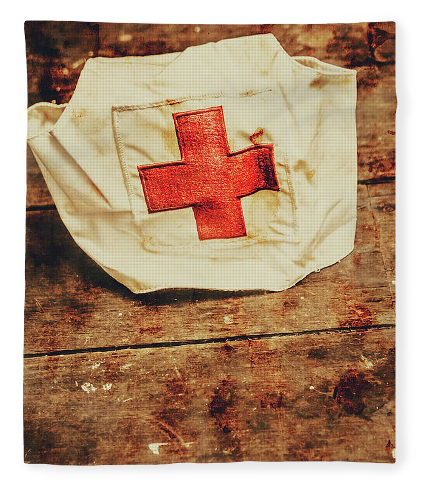 Vintage Fleece Blanket featuring the photograph Ww2 Nurse Hat. Army Medical Corps by Jorgo Photography - Wall Art Gallery
