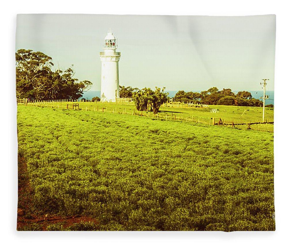 Lighthouse Fleece Blanket featuring the photograph Wynyard Lighthouse Way by Jorgo Photography - Wall Art Gallery