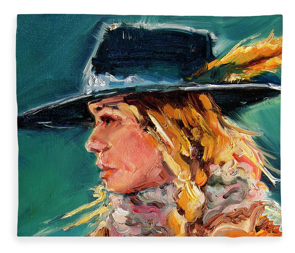 Cowgirl Fleece Blanket featuring the painting Wyoming Cowgirl Close by Diane Whitehead