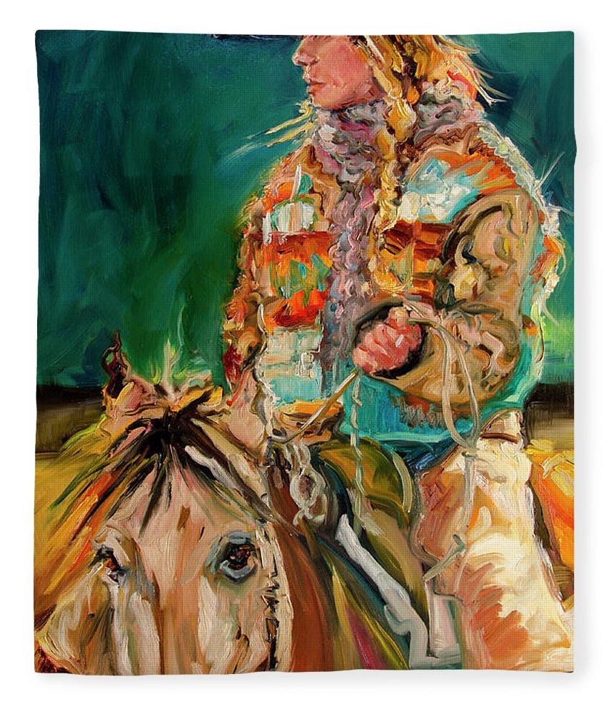 Cowgirl Diane Whitehead Fleece Blanket featuring the painting Wyoming Cowgirl by Diane Whitehead
