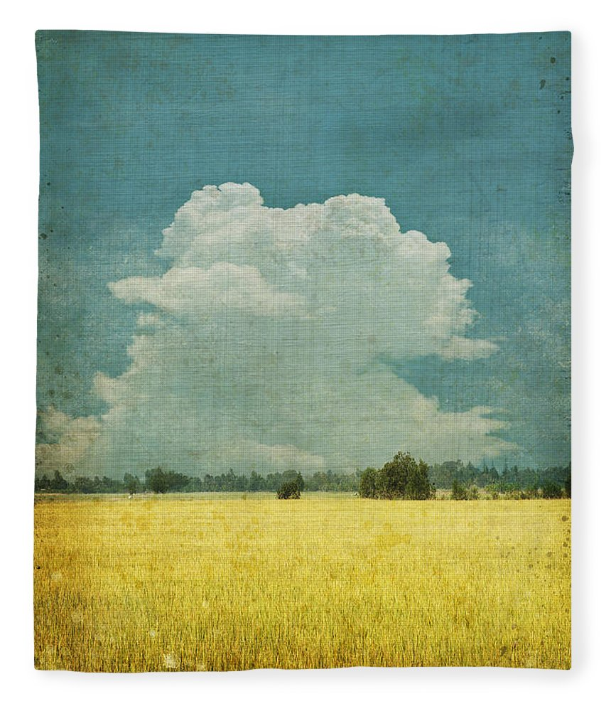 Abstract Fleece Blanket featuring the photograph Yellow Field On Old Grunge Paper by Setsiri Silapasuwanchai