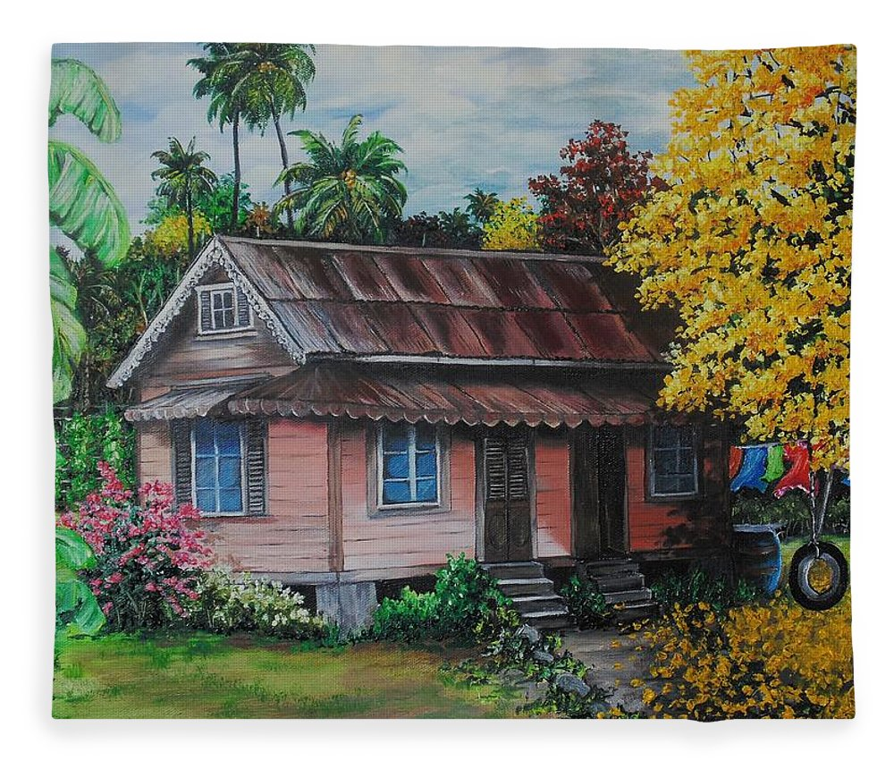 Old House Fleece Blanket featuring the painting Yellow Poui Time by Karin Dawn Kelshall- Best