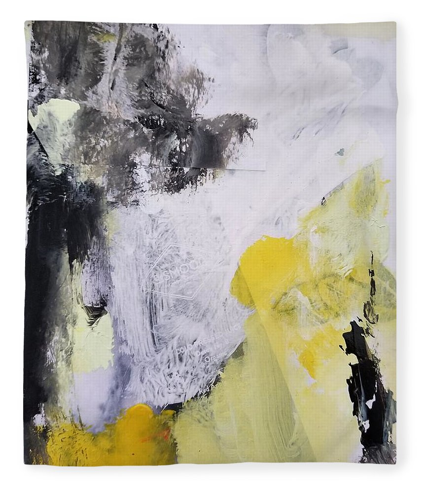 Abstract Fleece Blanket featuring the painting Yellow Winter by Patricia Byron