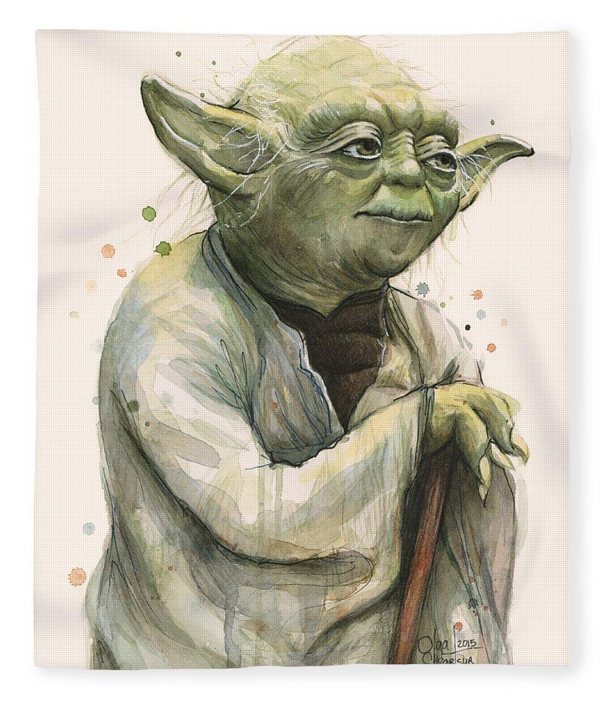 Yoda Fleece Blanket featuring the painting Yoda Portrait by Olga Shvartsur