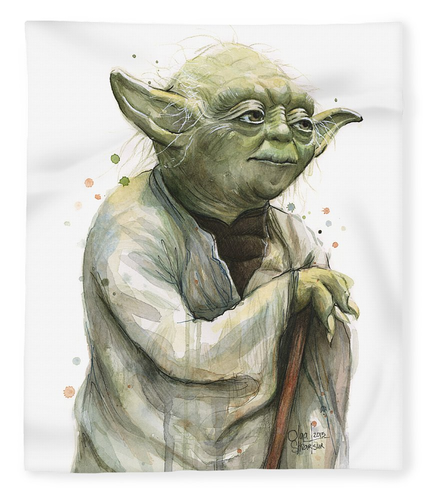 Yoda Fleece Blanket featuring the painting Yoda Watercolor by Olga Shvartsur