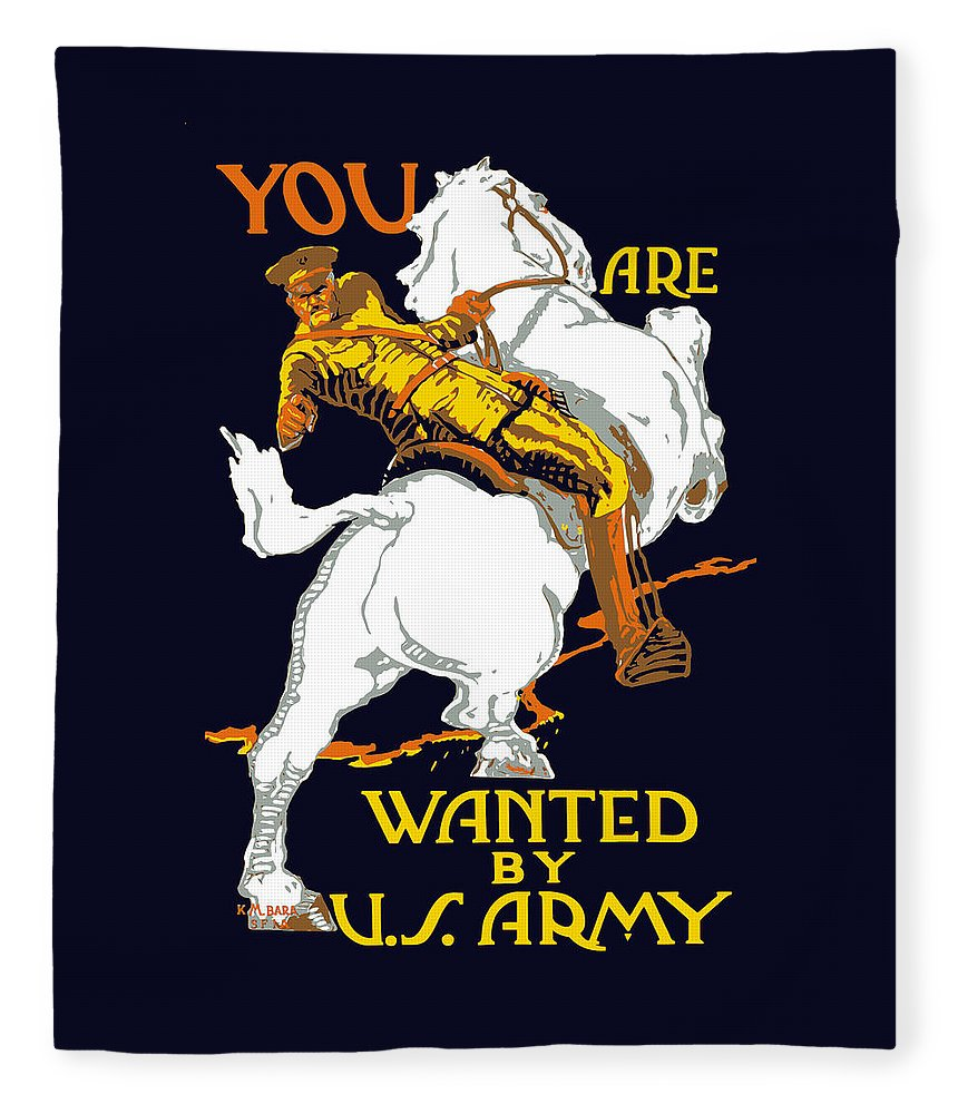 Ww1 Fleece Blanket featuring the painting You Are Wanted By Us Army by War Is Hell Store