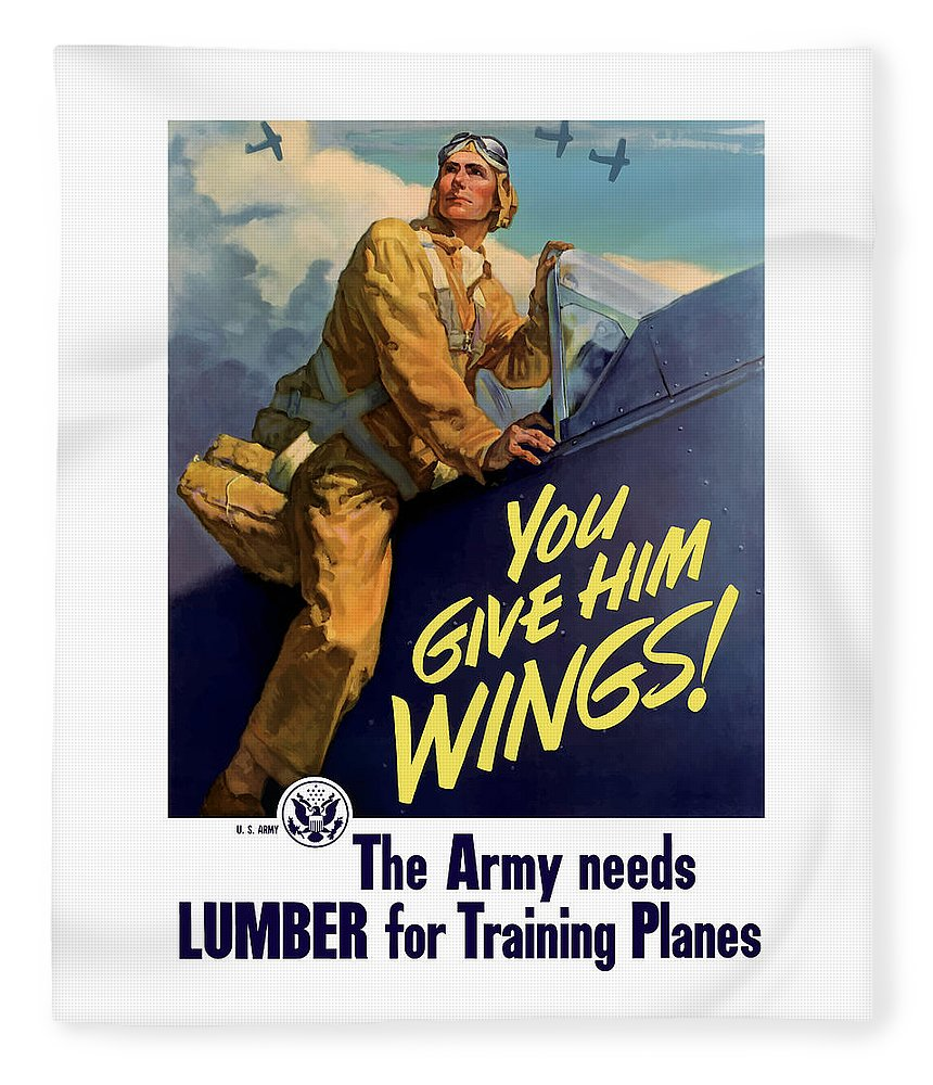 Aircraft Fleece Blanket featuring the painting You Give Him Wings - Ww2 by War Is Hell Store
