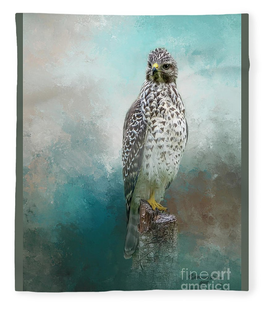 Bird Fleece Blanket featuring the mixed media Young Eyes by Marvin Spates