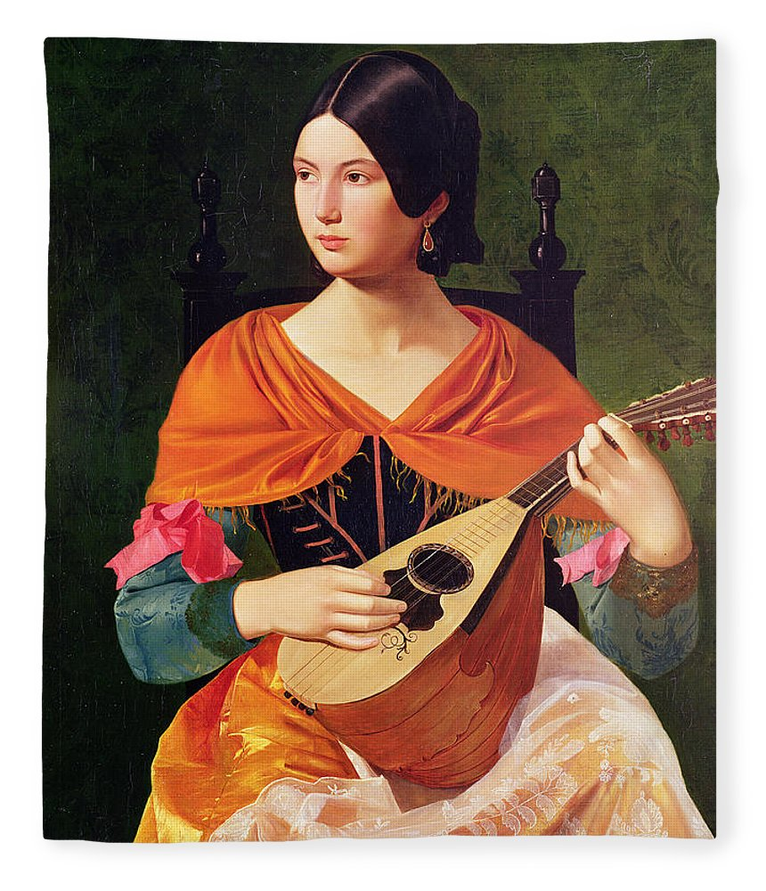Young Woman With A Mandolin Fleece Blanket featuring the painting Young Woman With A Mandolin by Vekoslav Karas