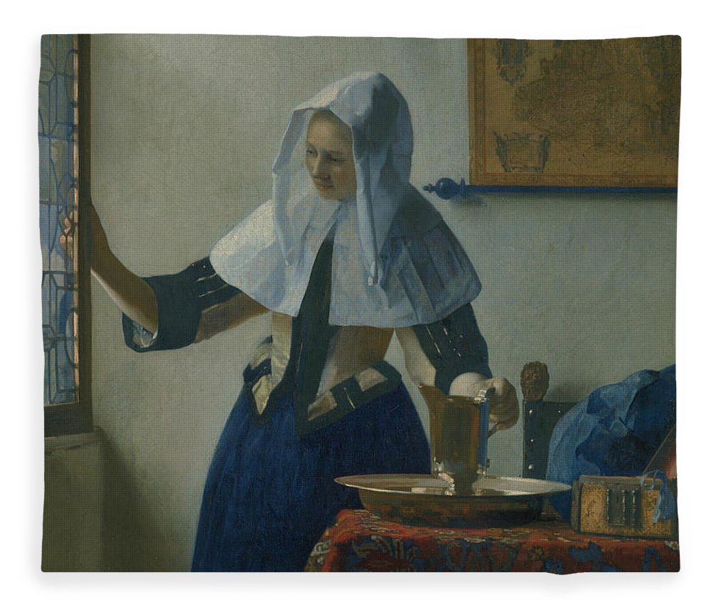 Jan Vermeer Fleece Blanket featuring the painting Young Woman With A Water Pitcher by Jan Vermeer