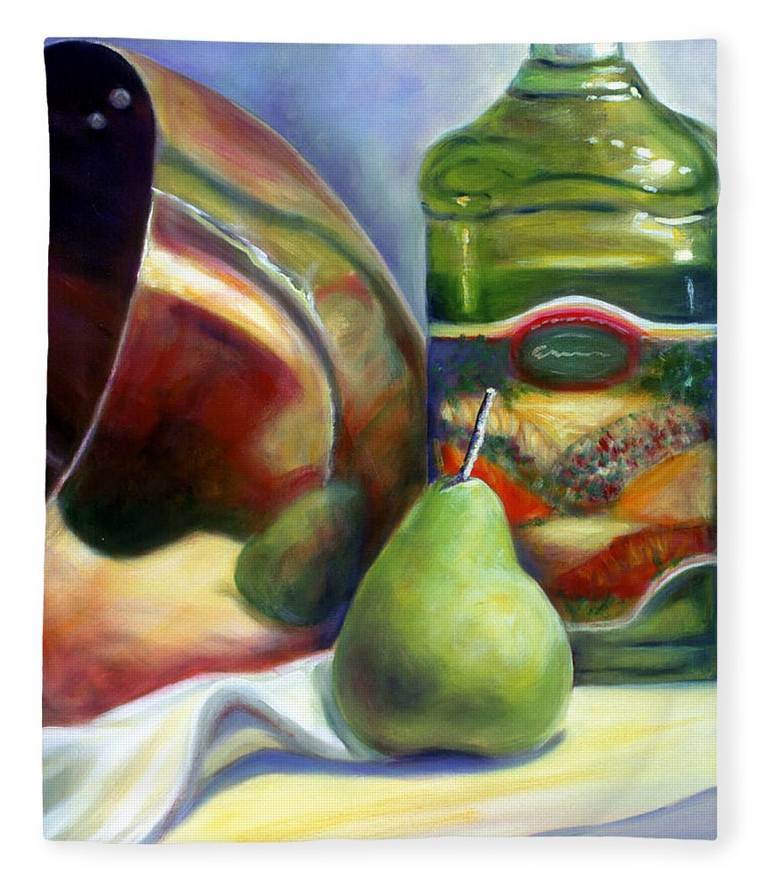 Copper Vessel Fleece Blanket featuring the painting Zabaglione Pan by Shannon Grissom