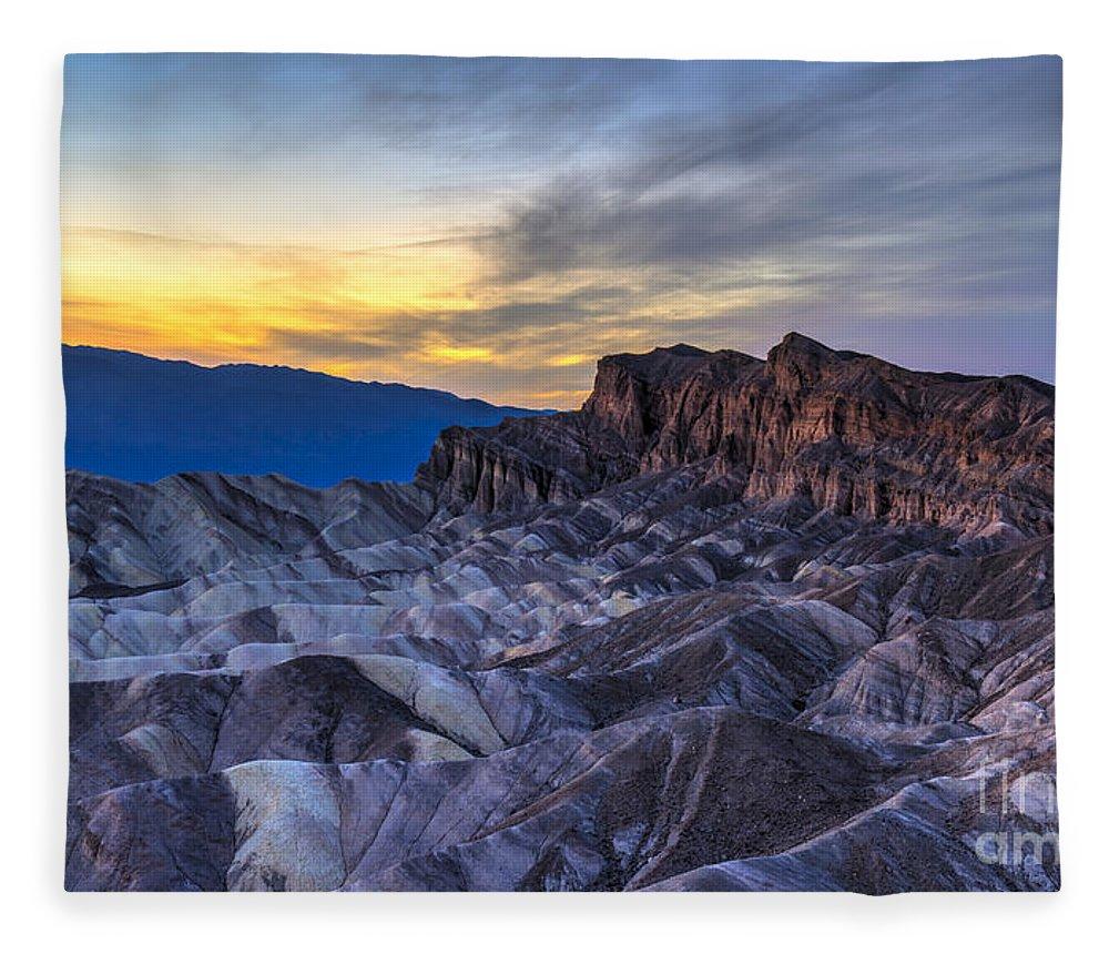 Adventure Fleece Blanket featuring the photograph Zabriskie Point Sunset by Charles Dobbs