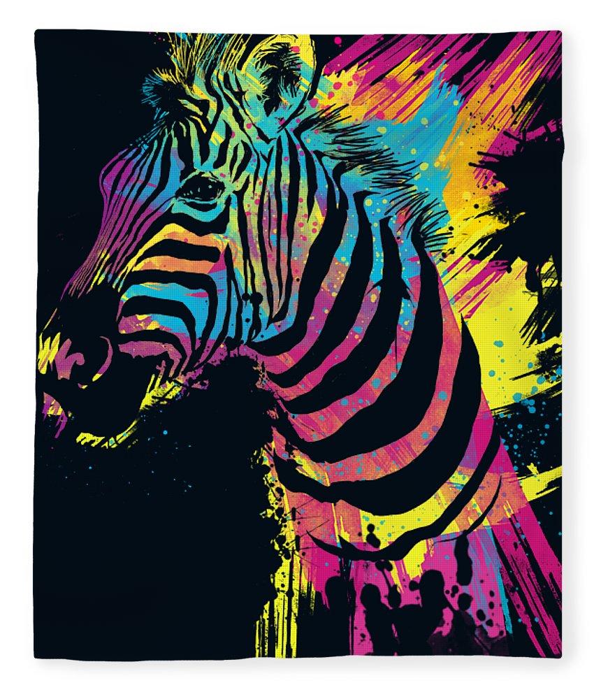 Zebra Fleece Blanket featuring the digital art Zebra Splatters by Olga Shvartsur