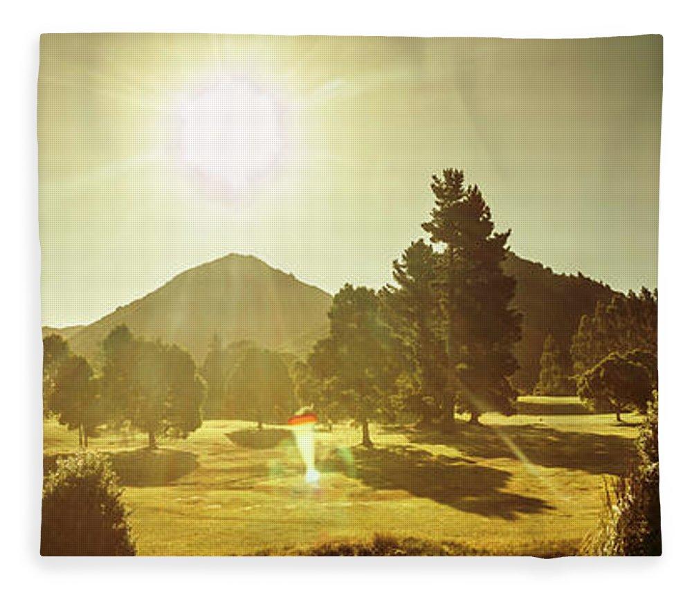 Tasmania Fleece Blanket featuring the photograph Zeehan Golf Course by Jorgo Photography - Wall Art Gallery