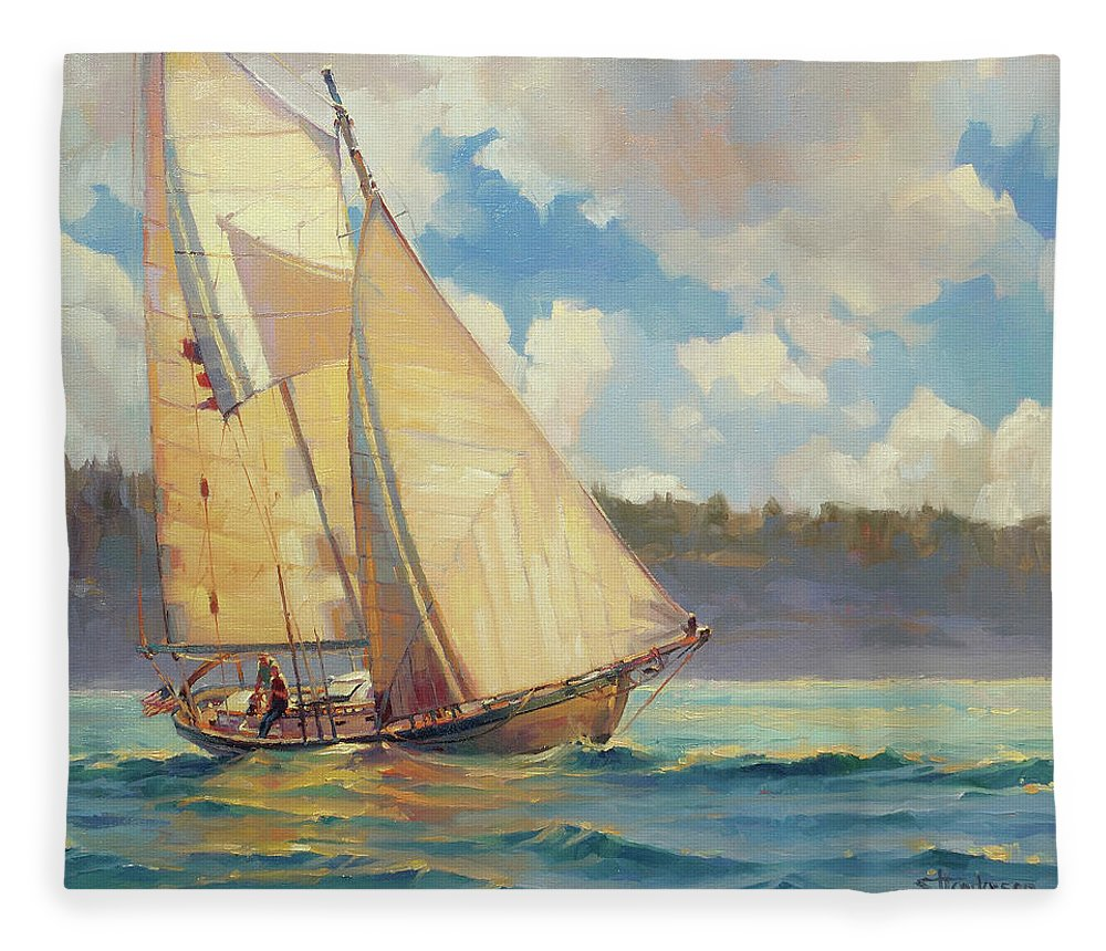 Sailboat Fleece Blanket featuring the painting Zephyr by Steve Henderson