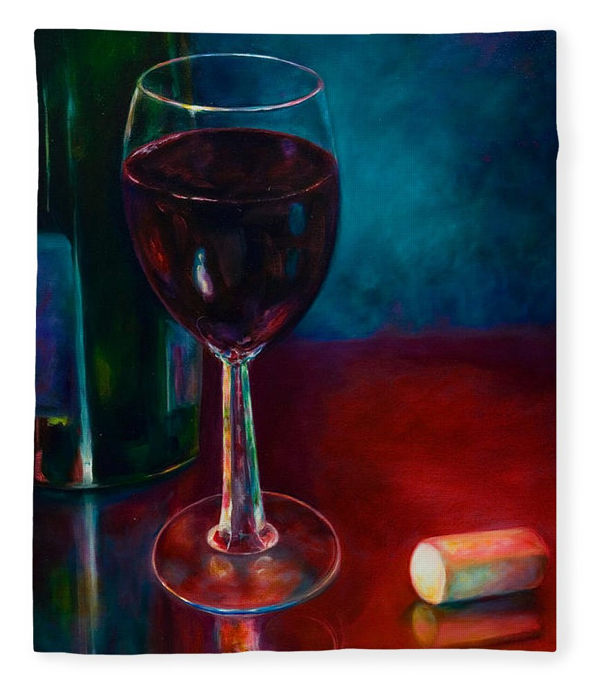 Wine Bottle Fleece Blanket featuring the painting Zinfandel by Shannon Grissom