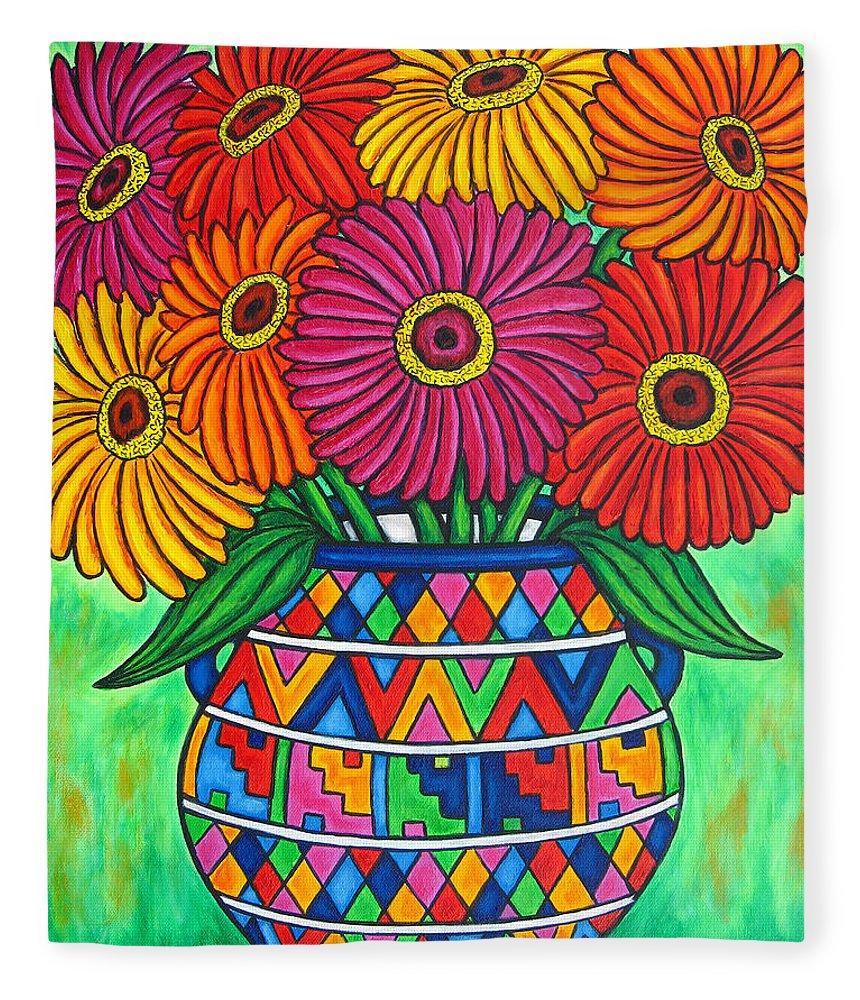 Zinnia Fleece Blanket featuring the painting Zinnia Fiesta by Lisa Lorenz