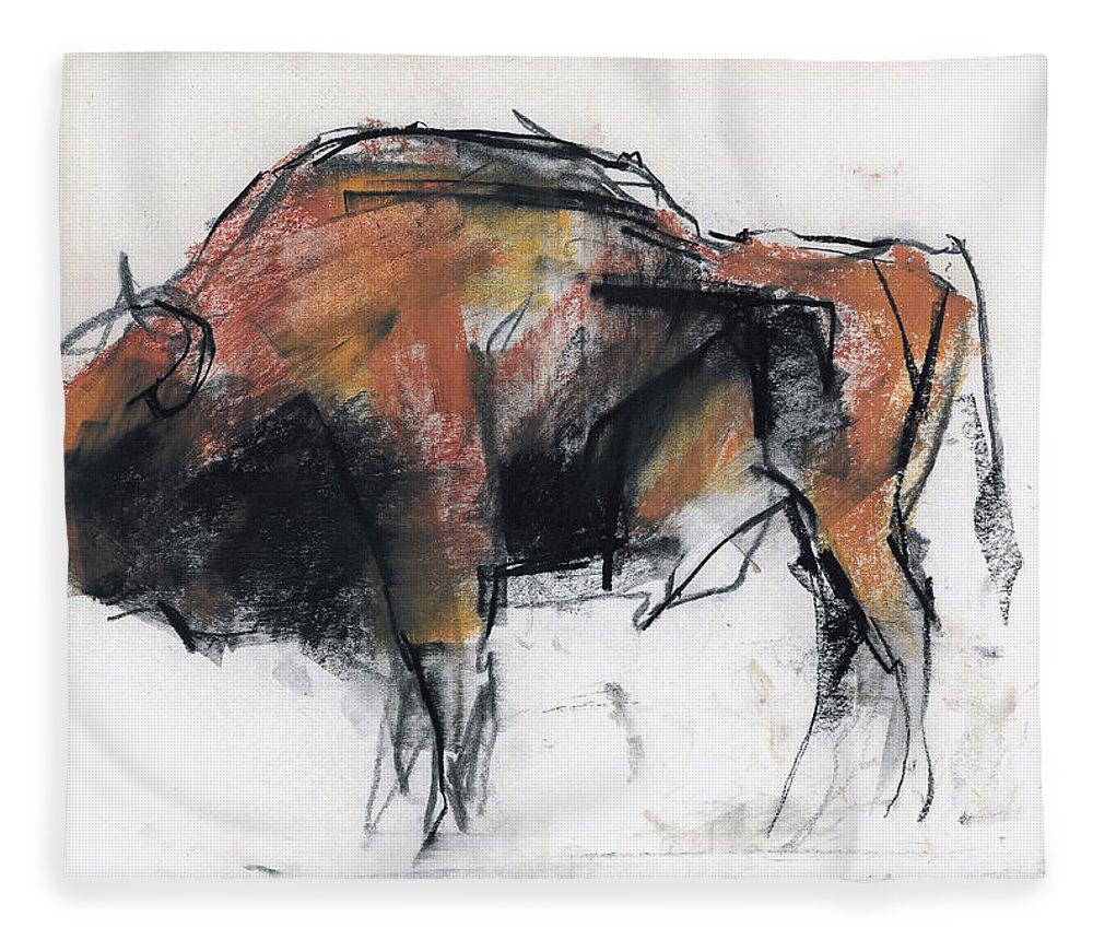 Bison Fleece Blanket featuring the drawing Zubre Bialowieza by Mark Adlington