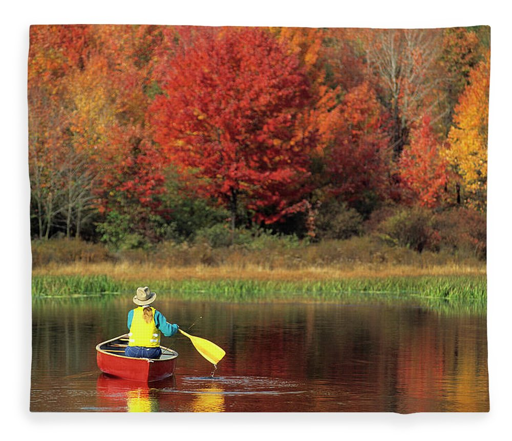 Tranquility Fleece Blanket featuring the photograph A Person Canoeing In Pennsylvania by Beck Photography