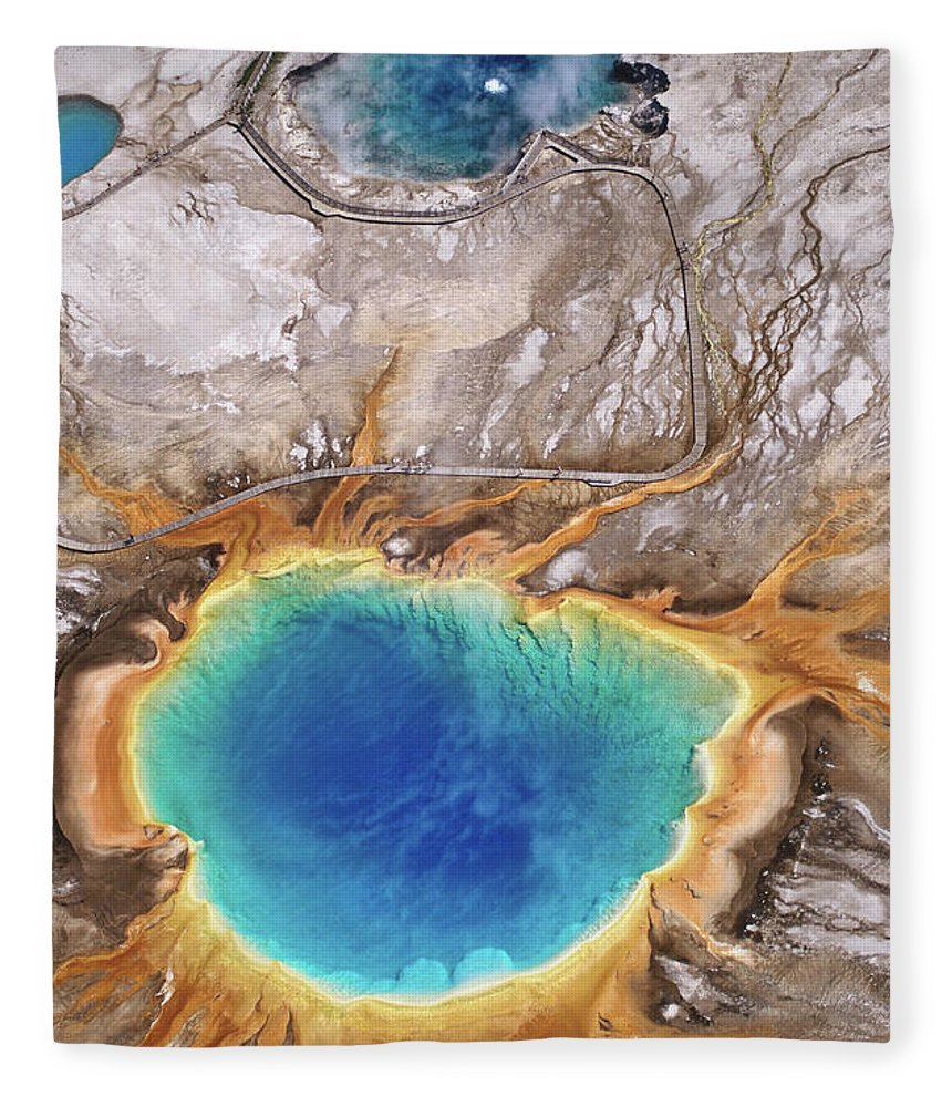 Geyser Fleece Blanket featuring the photograph Aerial View Of Grand Prismatic Spring by Holger Leue
