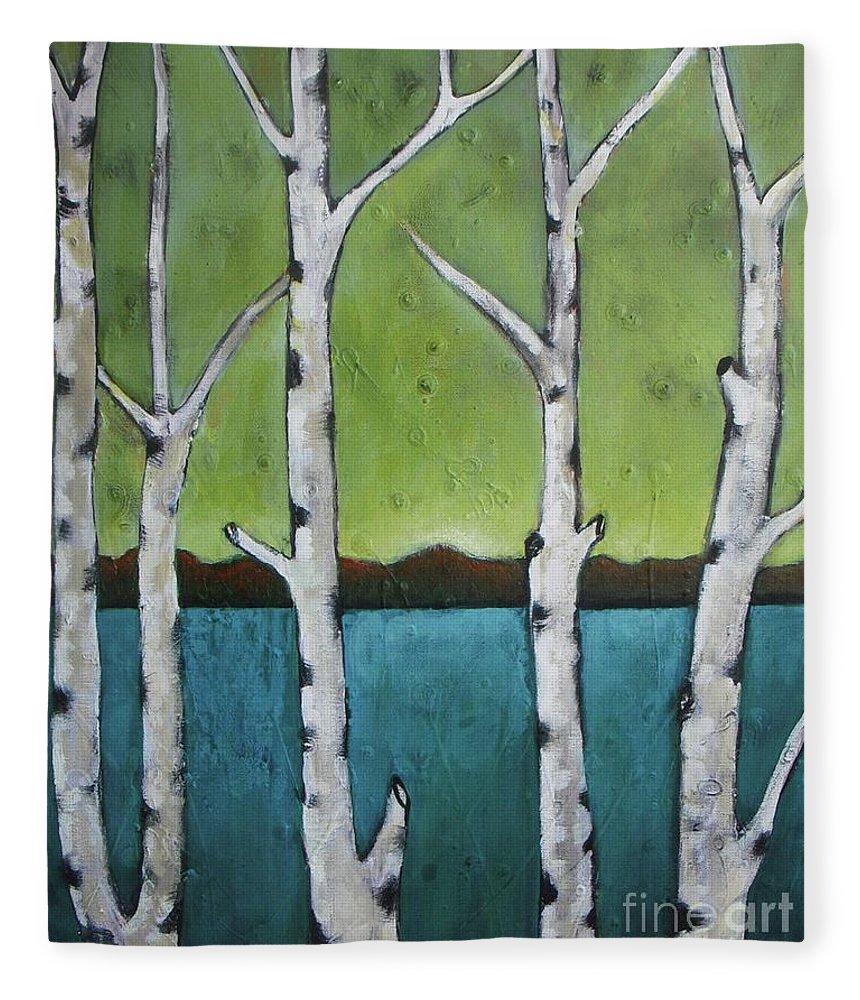 Aspen Fleece Blanket featuring the photograph Aspen Trees On The Lake by Vesna Antic