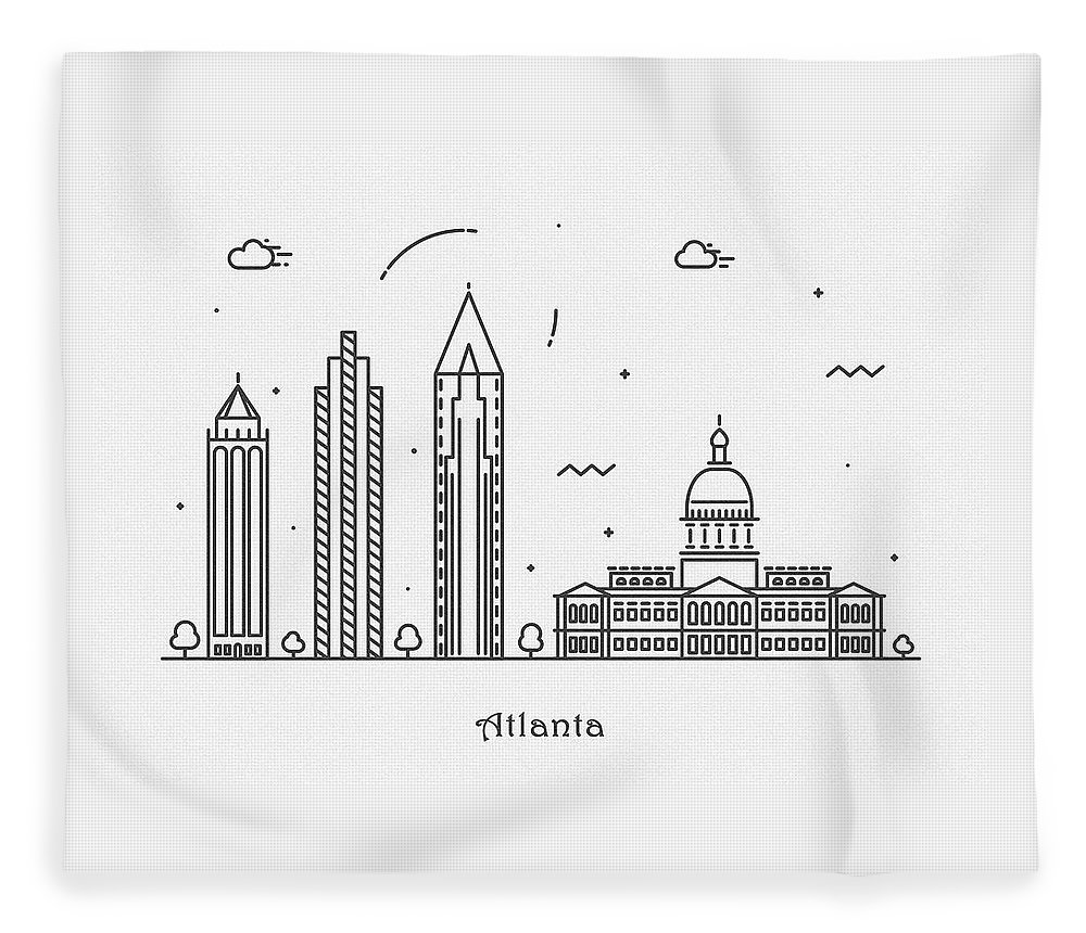 Atlanta Fleece Blanket featuring the drawing Astana Cityscape Travel Poster by Inspirowl Design