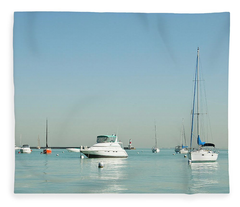 Billabong Fleece Blanket featuring the photograph Boats On Lake Michigan by Weible1980