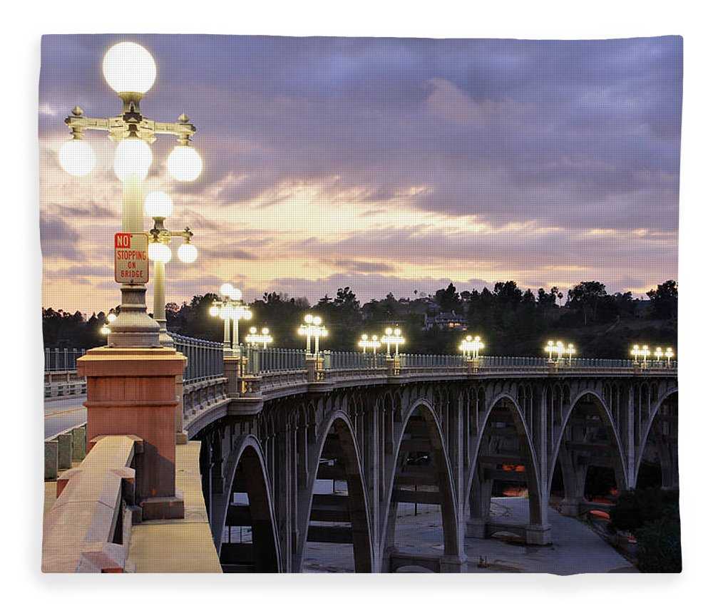 Arch Fleece Blanket featuring the photograph Bridge At Sunset by S. Greg Panosian