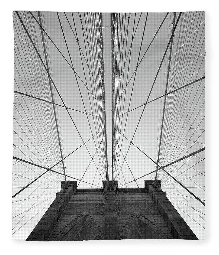 Arch Fleece Blanket featuring the photograph Brooklyn Bridge by Jimschemel