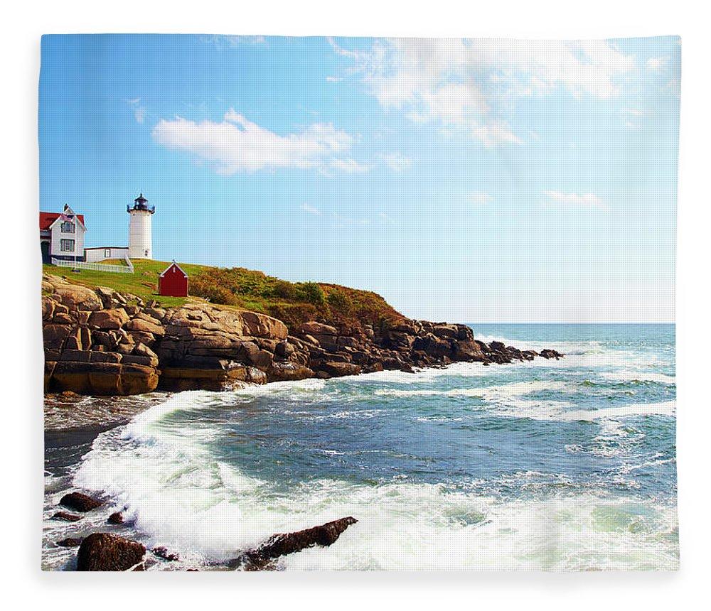 Scenics Fleece Blanket featuring the photograph Cape Neddick Nubble Lighthouse by Thomas Northcut