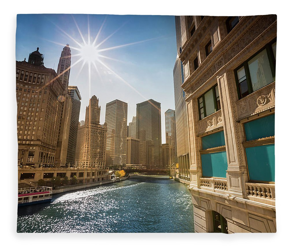 Downtown District Fleece Blanket featuring the photograph Chicago Cityscape And River by Pgiam