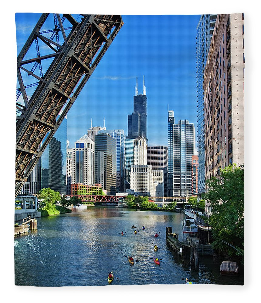 Chicago River Fleece Blanket featuring the photograph Chicago, Il by Adam Jones
