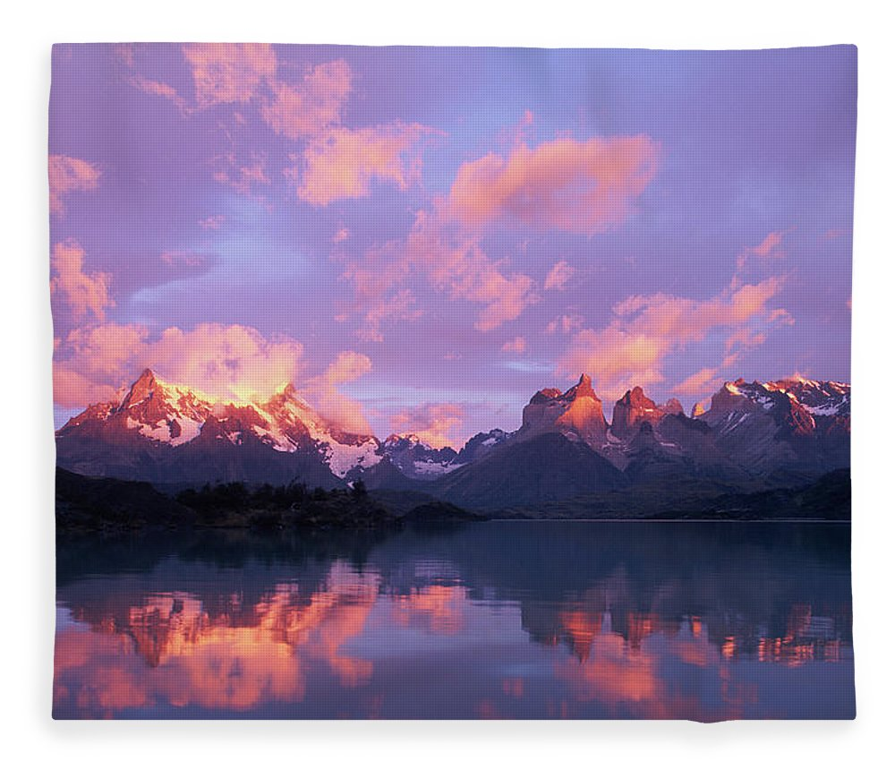 Scenics Fleece Blanket featuring the photograph Chile, Patagonia, Torres Del Paine Np by Paul Souders