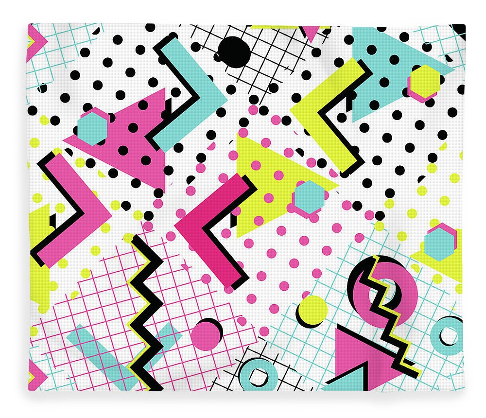1980-1989 Fleece Blanket featuring the digital art Colorful Abstract 80s Style Seamless by Alex bond