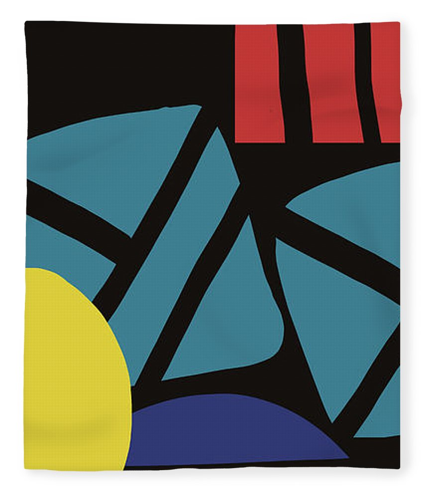 Abstract Fleece Blanket featuring the digital art Colorful Bento 3- Art By Linda Woods by Linda Woods