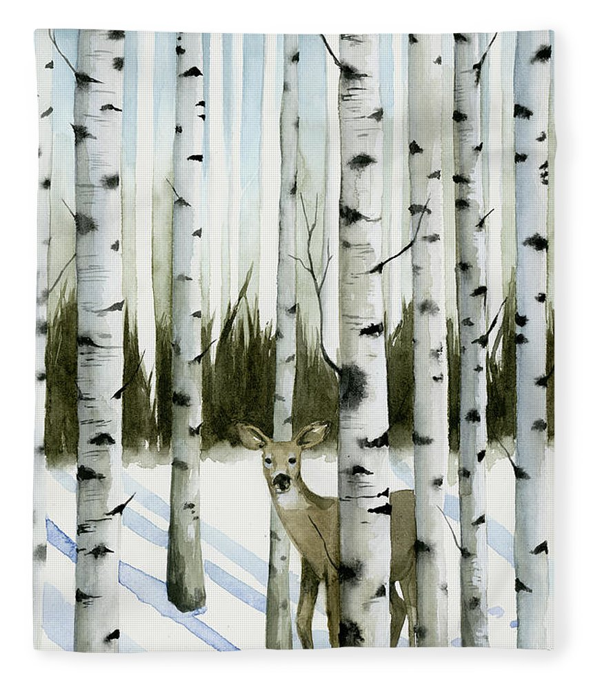 Deer In Snowfall Ii Fleece Blanket For Sale By Grace Popp