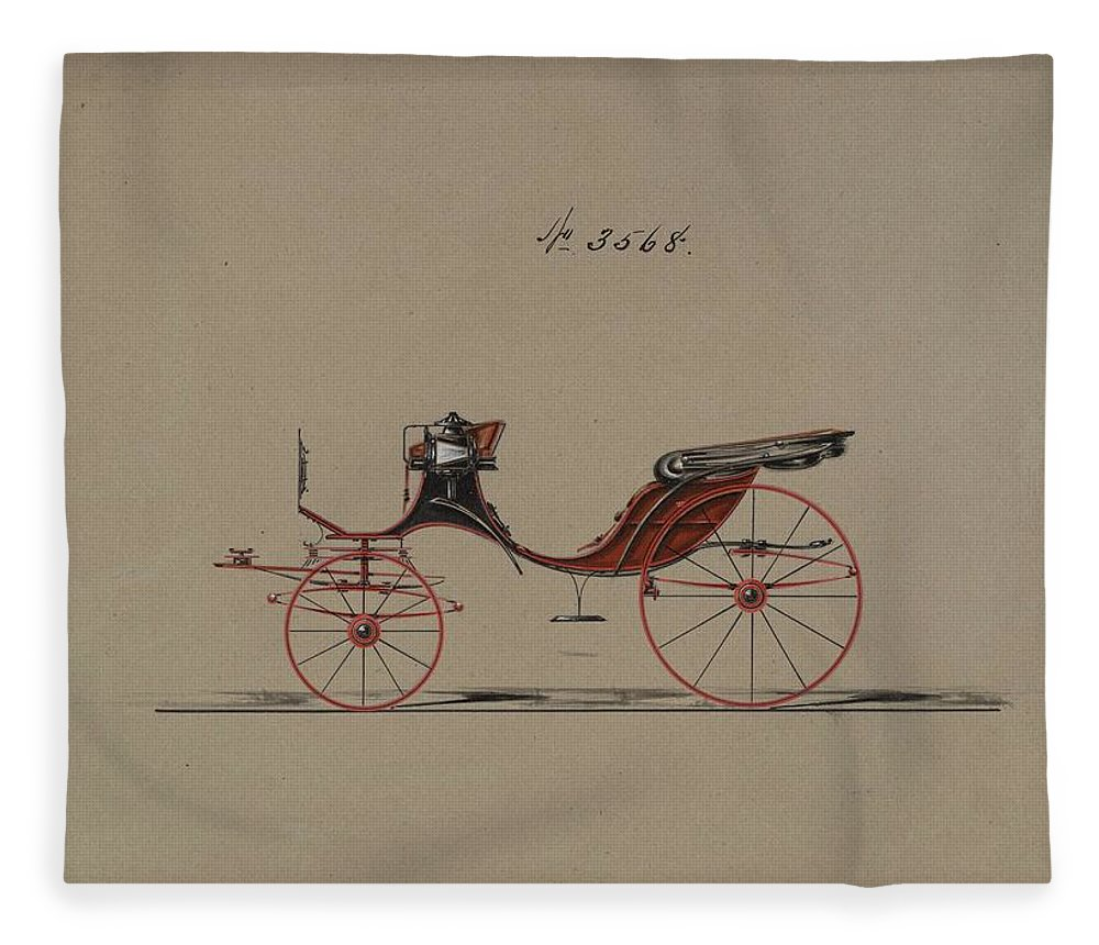 Vintage Fleece Blanket featuring the painting Design For Cabriolet Or Victoria, No. 3558 1879 by MotionAge Designs
