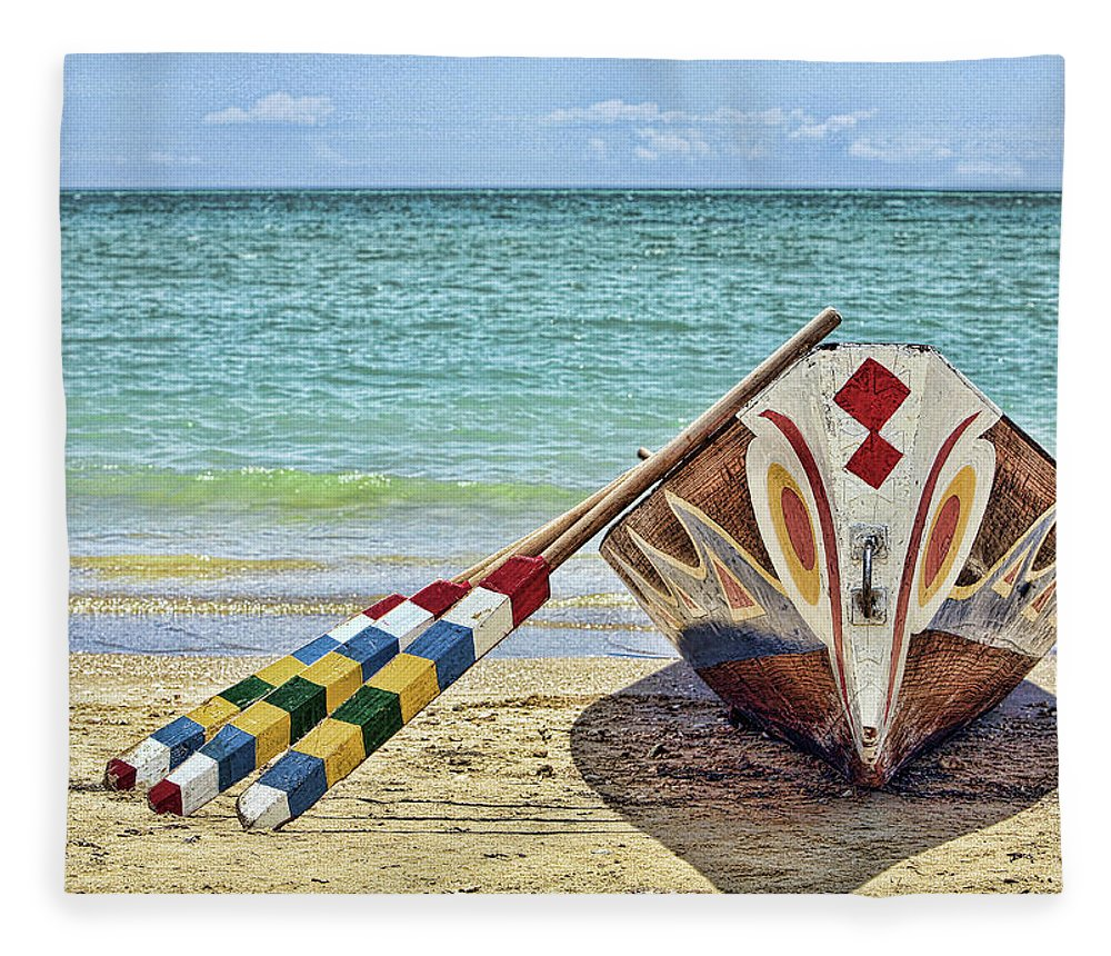 Tranquility Fleece Blanket featuring the photograph Dragon Boat by Karen Walzer