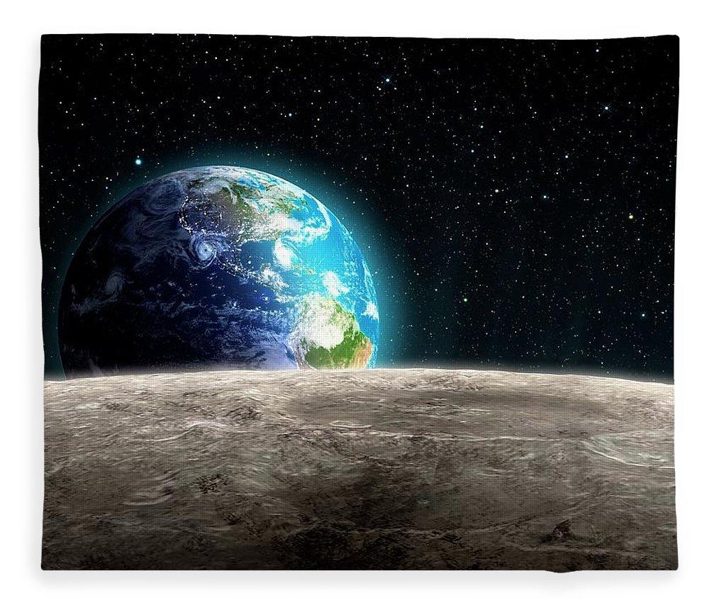 Shadow Fleece Blanket featuring the digital art Earthrise From The Moon, Artwork by Andrzej Wojcicki