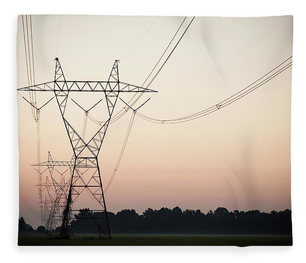 Tranquility Fleece Blanket featuring the photograph Electrical Power Lines Against The by Wesley Hitt
