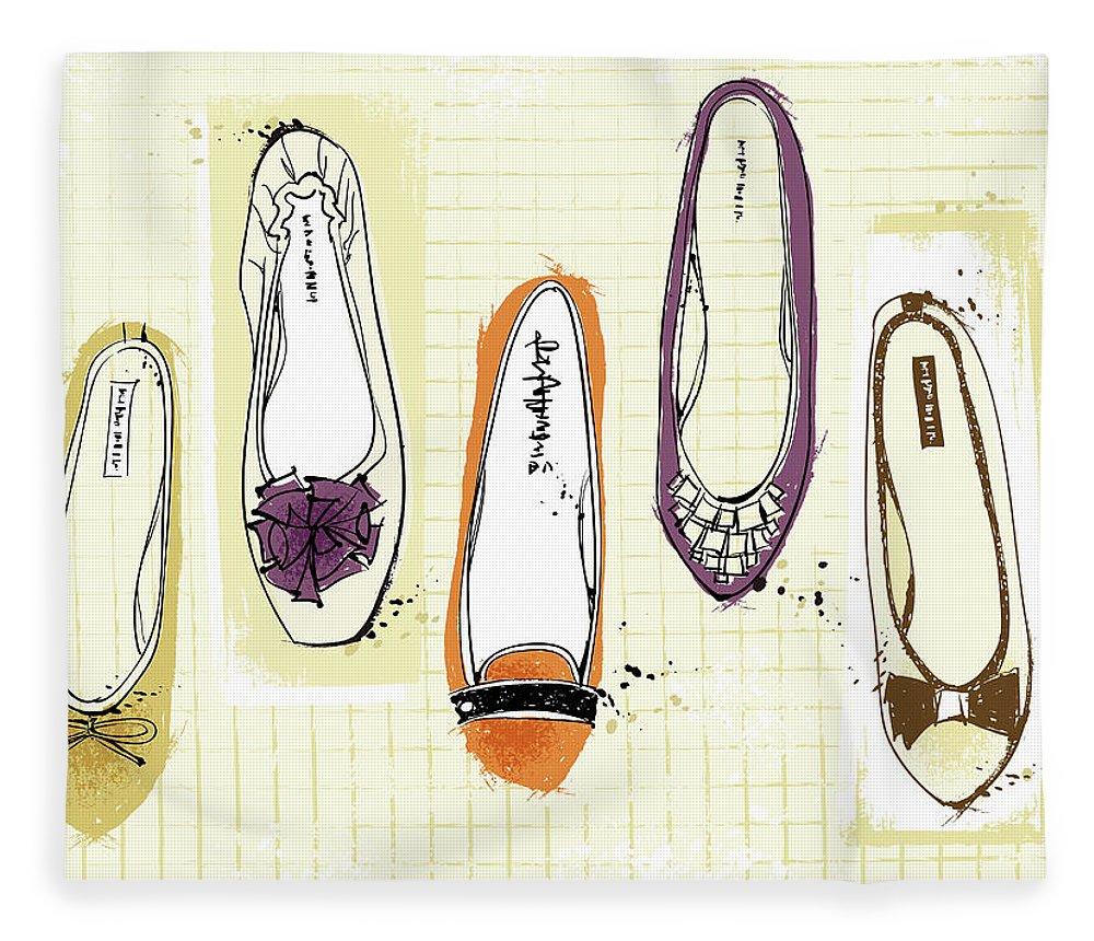 Purple Fleece Blanket featuring the digital art Feminine Shoes by Eastnine Inc.