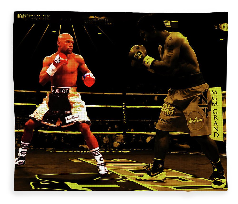 Floyd Mayweather Fleece Blanket featuring the mixed media Floyd Mayweather And Manny Pacquiao by Brian Reaves