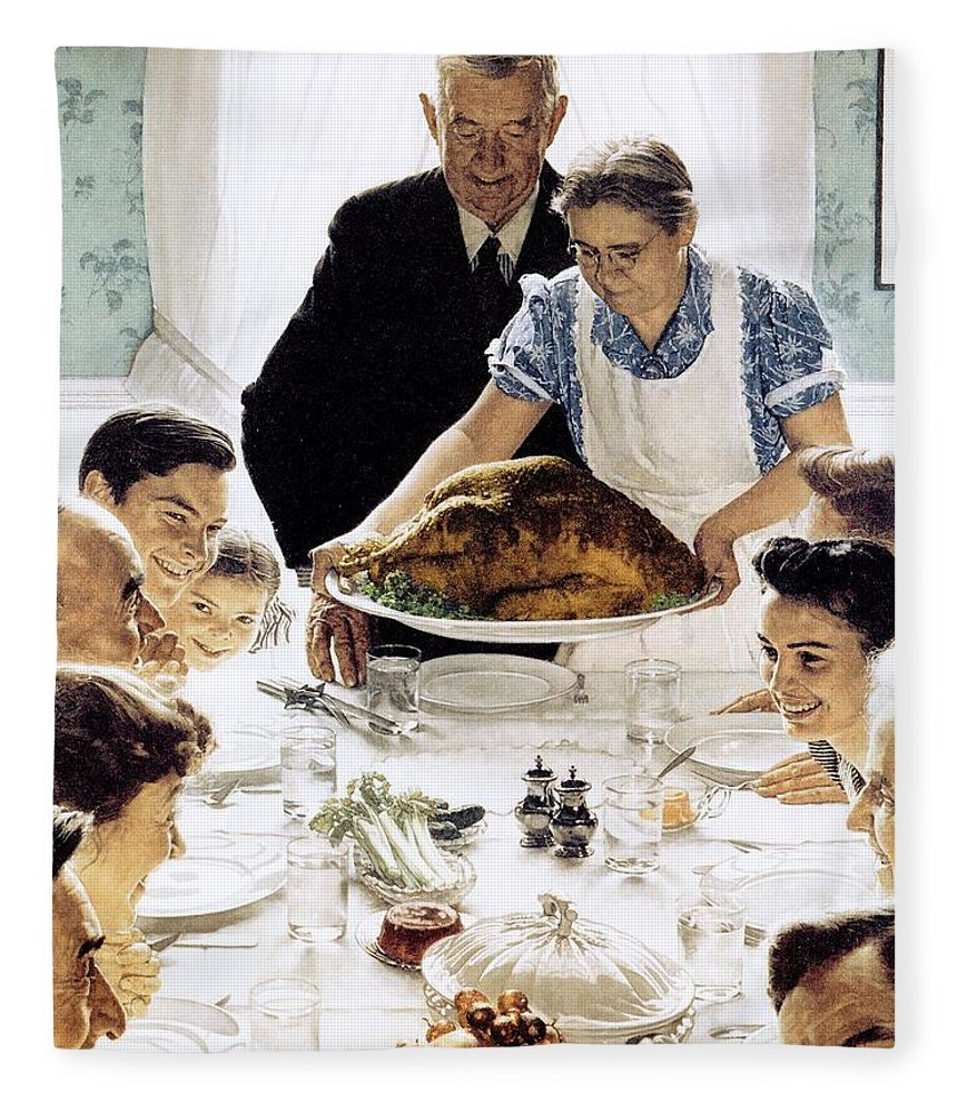 Family Fleece Blanket featuring the drawing Freedom From Want 1 by Norman Rockwell