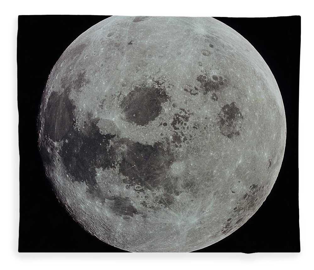 Black Background Fleece Blanket featuring the photograph Full Moon by Nasa